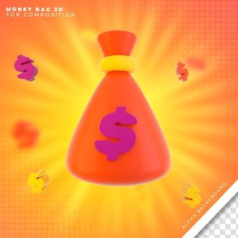 Ícone 3d do saco de dinheiro