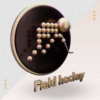 Ícone 3d esportes olímpicos de ouro símbolo de hóquei em campo renderização vista esquerda