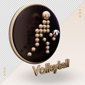 Ícone 3d esportes olímpicos de ouro símbolo de voleibol renderização vista esquerda