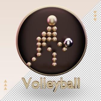 Ícone 3d esportes olímpicos de ouro símbolo de voleibol renderização vista frontal