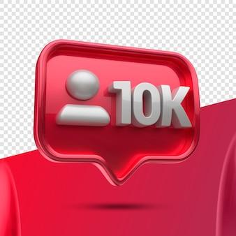 Ícone 3d instagram 10 mil seguidores restantes Psd Premium