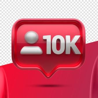 Ícone 3d instagram 10k seguidores na frente