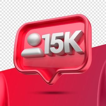 Ícone 3d instagram 15 mil seguidores certos Psd Premium