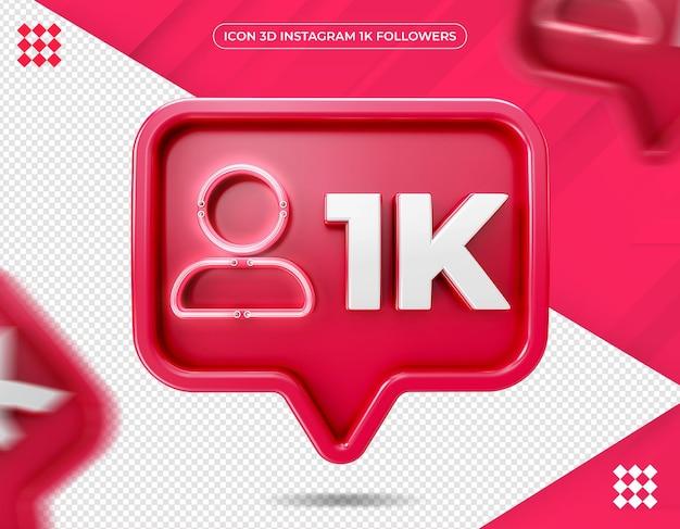 Ícone 3d instagram 1k isolado