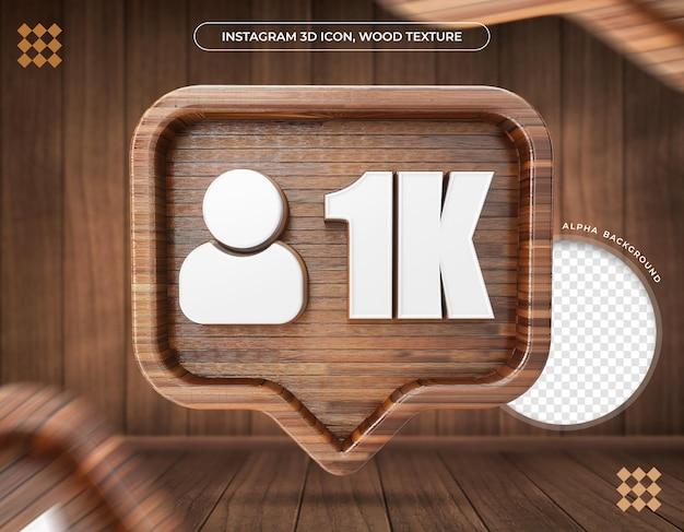 Ícone 3d instagram 1k seguidor de textura de madeira