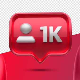 Ícone 3d instagram 1k seguidores frontais