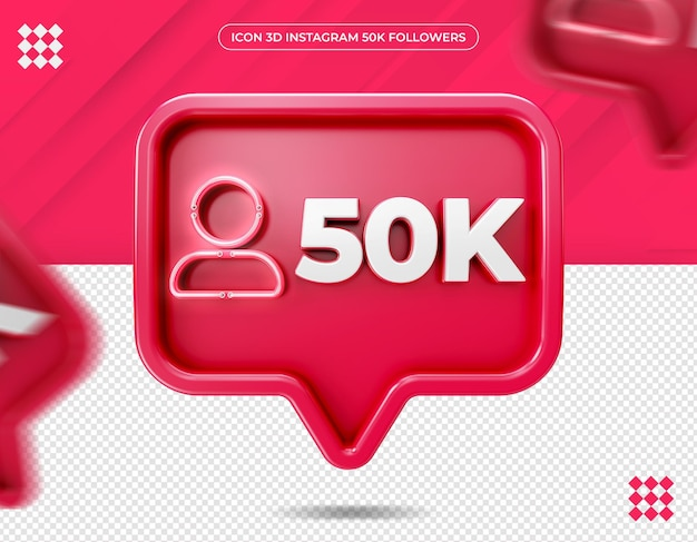 Ícone 3d instagram 50 mil seguidores
