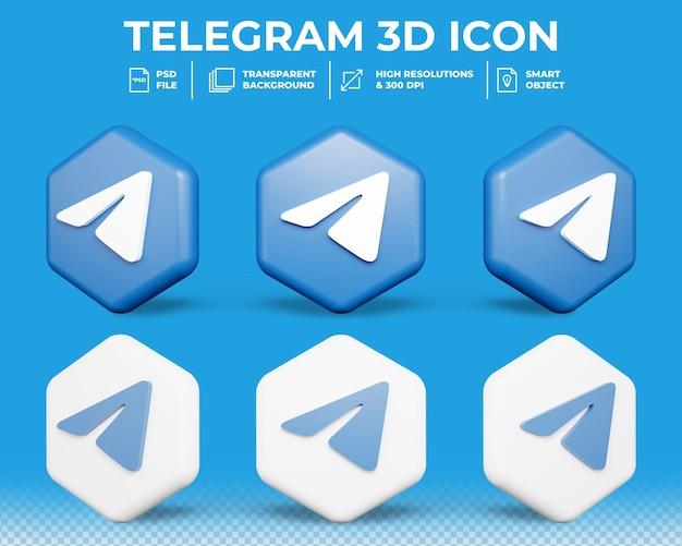 Ícone 3d isolado de mídia social moderno do telegram