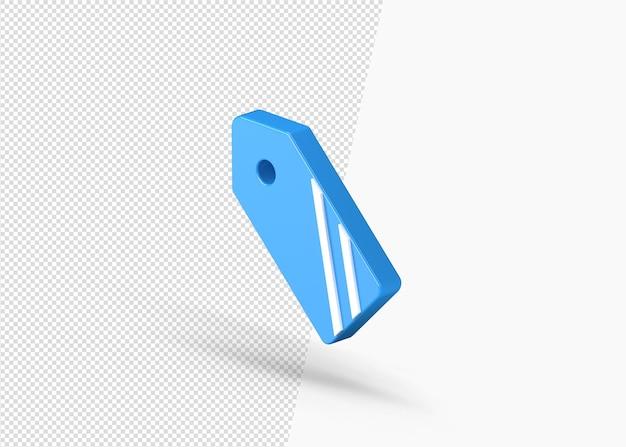 Ícone 3d isolado do emblema de venda de etiqueta em branco Psd Premium