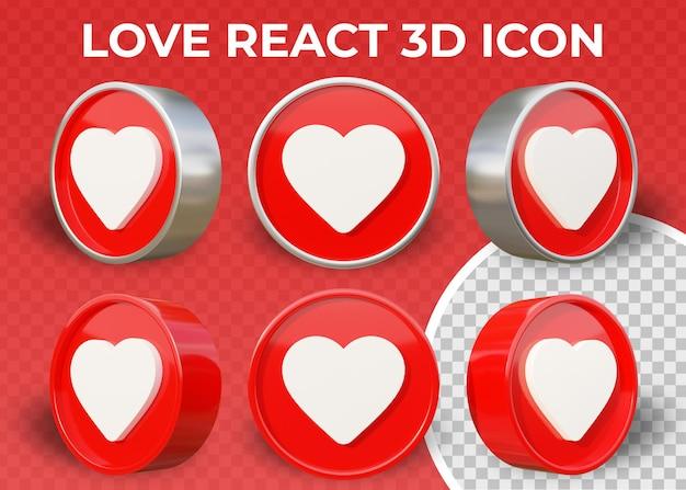 Ícone 3d isolado realista e plano de reação do amor
