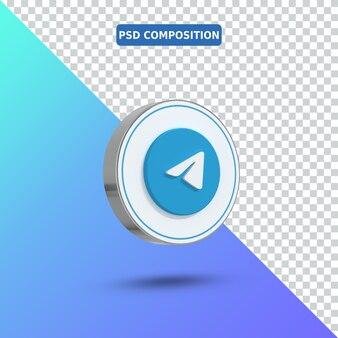Ícone 3d logotipo do telegram