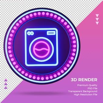 Ícone 3d máquina de lavar roupa sinal de néon do hotel renderização vista frontal