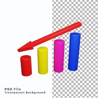 Ícone 3d para baixo da tabela de gráfico gráfico de alta qualidade