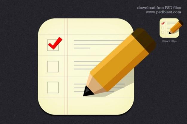 Ícone checklist com lápis de madeira