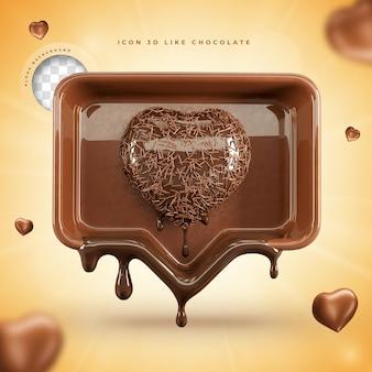 Ícone como renderização 3d de chocolate páscoa de mídia social