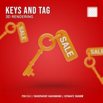 Ícone da chave de venda 3d