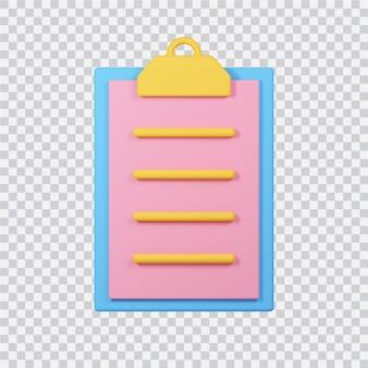 Ícone da lista de verificação isolado na imagem renderizada 3d branca