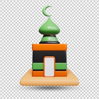 Ícone da mesquita 3d do estilo dos desenhos animados