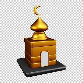Ícone da mesquita, cor dourada, renderização em 3d