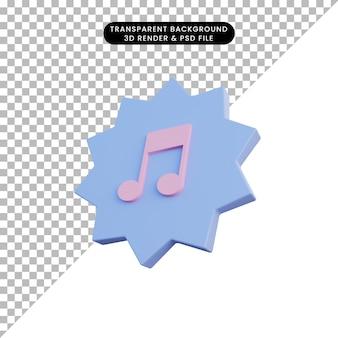 Ícone da música de ilustração 3d com crachá