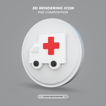 Ícone de ambulância em renderização 3d