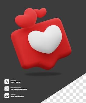 Ícone de amor do chat 3d com fundo transparente