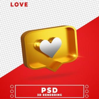 Ícone de amor na renderização 3d