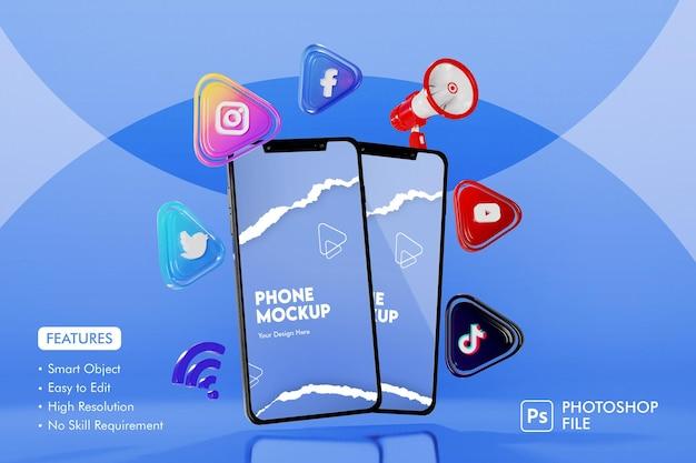 Ícone de aplicativos de mídia social 3d com maquete de smartphone