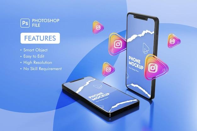 Ícone de aplicativos do instagram 3d com maquete de smartphone