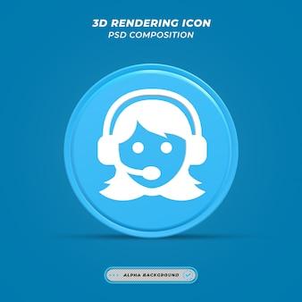 Ícone de atendimento ao cliente em renderização 3d