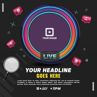 Ícone de avatar ao vivo de mídia social com néon para composição