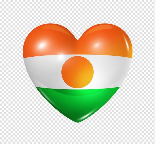 Ícone de bandeira da nigéria com coração 3d isolado