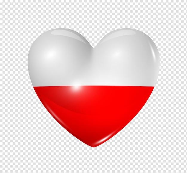 Ícone de bandeira da polônia coração 3d isolado