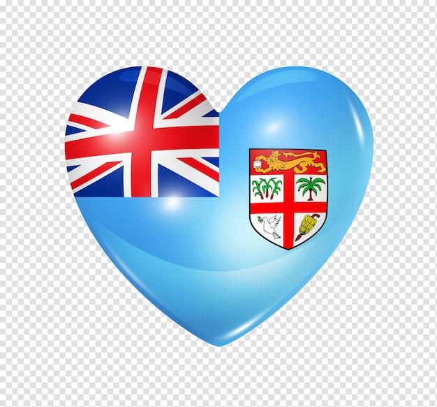 Ícone de bandeira de coração 3d com símbolo de fiji
