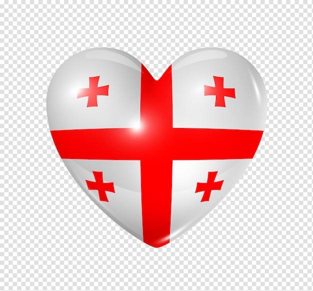 Ícone de bandeira do coração 3d do símbolo da geórgia