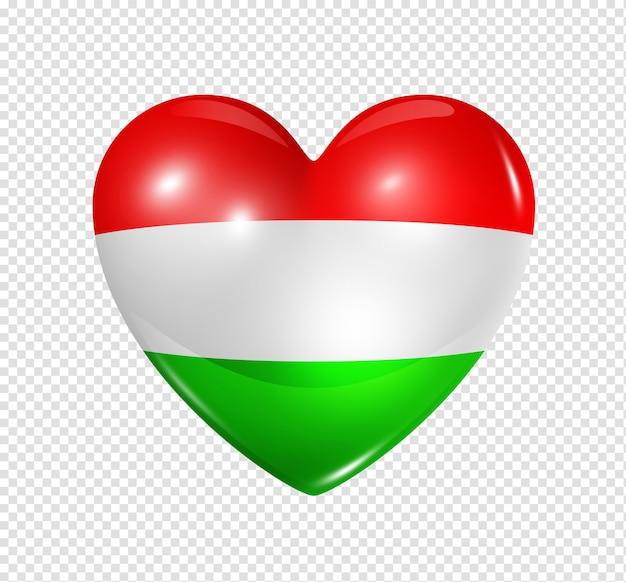 Ícone de bandeira do coração 3d do símbolo da hungria