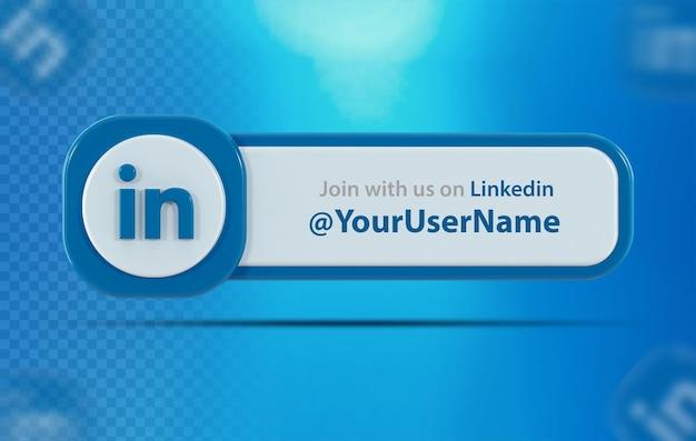 Ícone de banner do linkedin com rótulo 3d render isolado