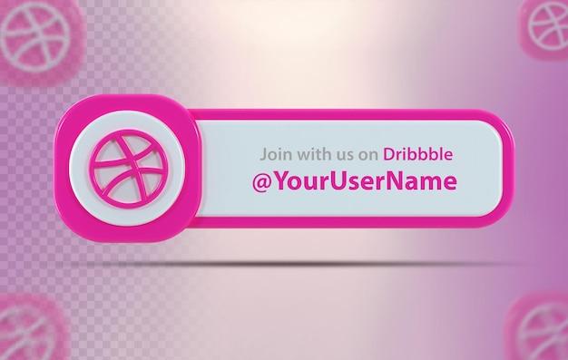 Ícone de banner dribbble com rótulo 3d render isolado