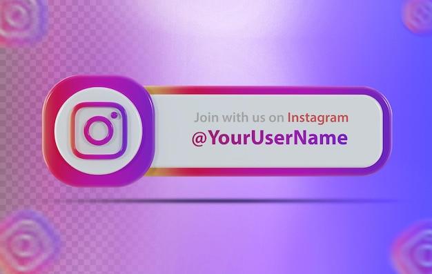 Ícone de banner instagram com rótulo renderização em 3d