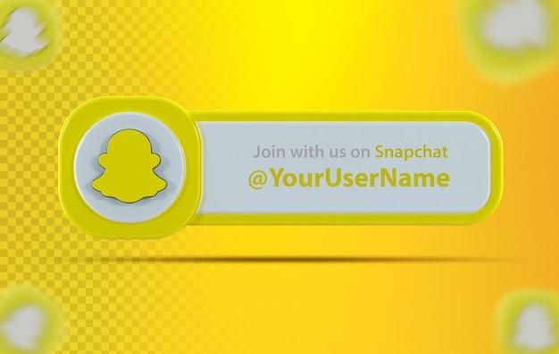 Ícone de banner snapchat com rótulo renderização em 3d
