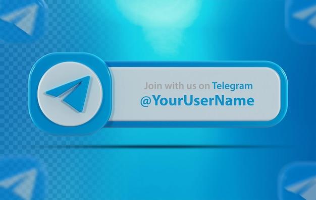 Ícone de banner telegrama com rótulo renderização em 3d