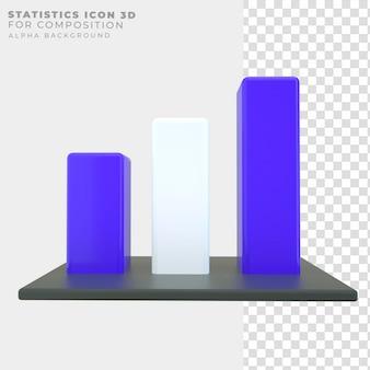 Ícone de barras de estatísticas de renderização 3d
