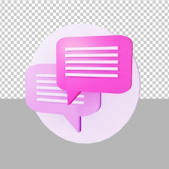 Ícone de bate-papo ilustração 3d para negócios