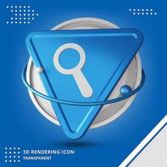 Ícone de botão de pesquisa realista em renderização 3d isolado