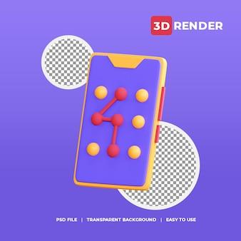 Ícone de cadeado de padrão 3d com fundo transparente