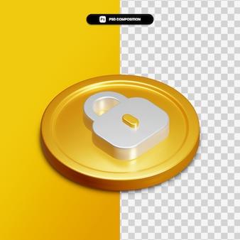 Ícone de cadeado de renderização 3d no círculo dourado isolado