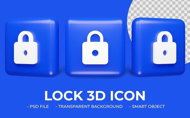 Ícone de cadeado renderização 3d isolada
