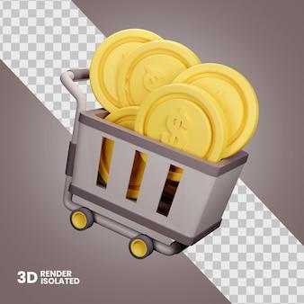 Ícone de carrinho de moedas 3d isolado