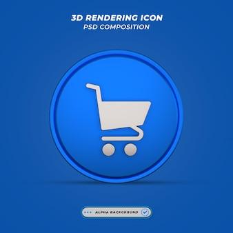 Ícone de carrinho em renderização 3d