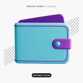 Ícone de carteira 3d isolado